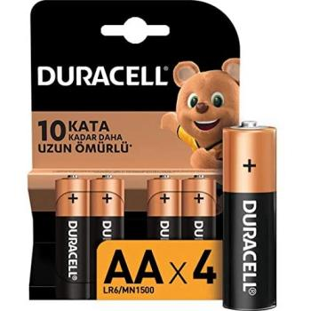 DURACELL AA 4LÜ LR6 MN1500 KALEM ALKALİNE PİL 1.5V