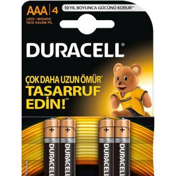DURACELL AAA 4LÜ  LR03/MN2400 İNCE KALEM ALKALİNE PİL