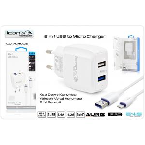 İconix 2.4A MİCRO USB Şarj Aleti Seti (2USB) İCON-CH002