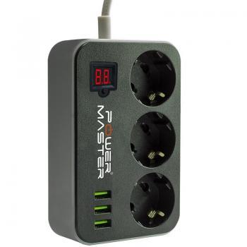 Powermaster PM-18530 3 Usb Çıkışlı 3'lü 10A-2500 W 1.8m Metre Kablolu Akım Korumalı Priz