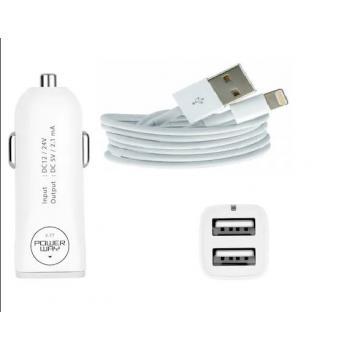 POWERWAY X-3 ÇİFT USB 2.1 Amper ÇAKMAKLIK+APPLE KABLO