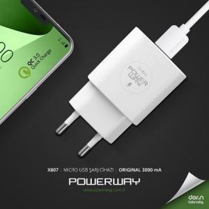 Powerway X-807 5V-3000 Ma Hızlı Şarj Cihazı+Mikro Usb Kablo